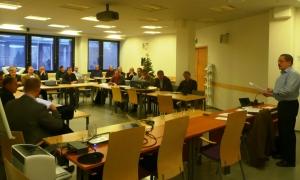 Pron puheenjohtaja Antti Rinne avauspuheessaan toivotti mediaunionilaiset tervetulleiksi Ammattiliitto Prohon.