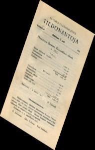 """Helmikuussa 1916 Tiedonantoja – Meddelanden aloitti lehden säännöllisen ilmestymisen kaksikielisenä, 4-sivuisena """"A5-vipusena""""."""