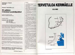 Jäsentapahtumista tiedottaminen on aina ollut lehden tärkeimpiä tehtävä. Näin kutsuttiin pilkkijöitä vuoden 1985 pilkkimestaruuskilpai-luihin.