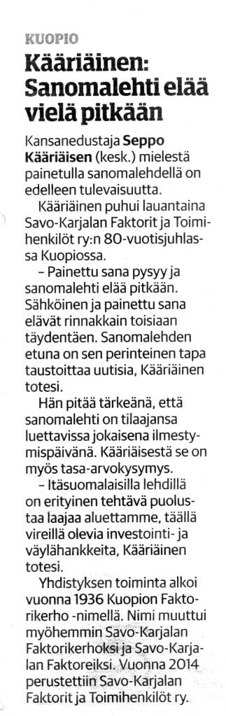 Juttu Savon Sanomissa 7.12.2016